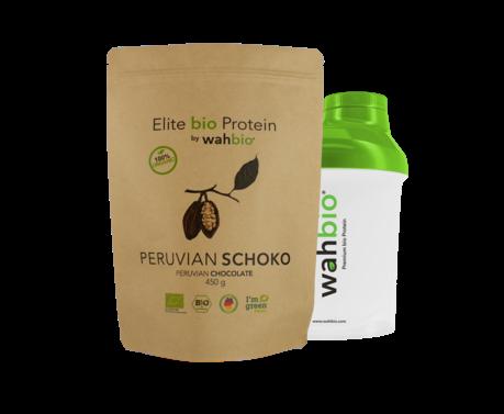 Elite bio Protein by wahbio | Peruvian Schoko | 450 Gr.  mit Travel Shaker 300ml