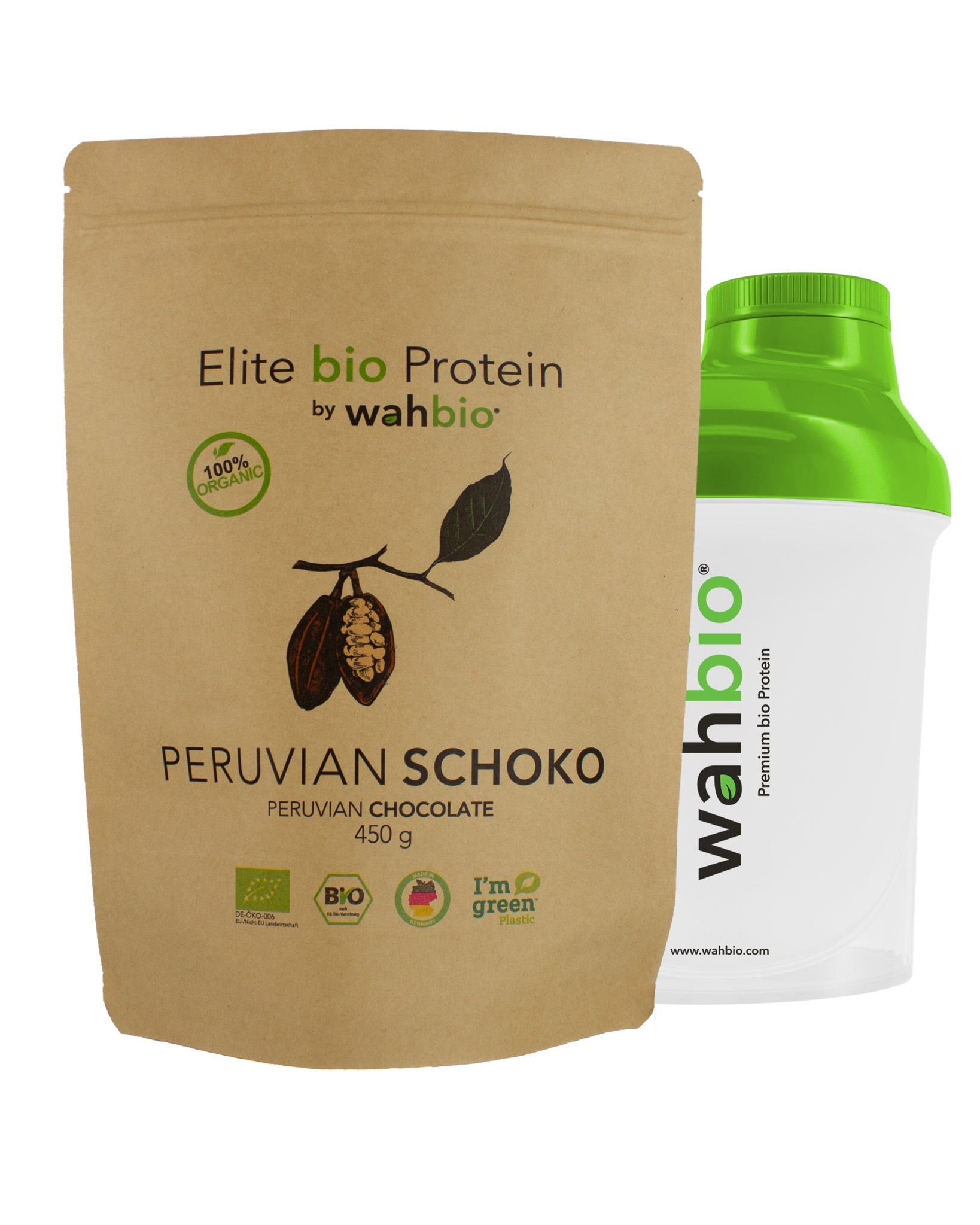 Elite Organic Protein | Peruvian Chocolate | 450 Gr. with Travel Shaker 300ml