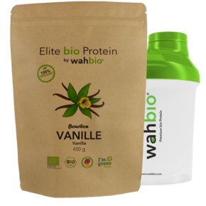 Elite Organic Protein by wahbio | VANILLA Protein | 450 Gr.  with Travel Shaker 300ml