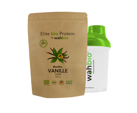 Elite Organic Protein by wahbio | Vanilla Protein | 450 Gr.  with Travel Shaker 300ml