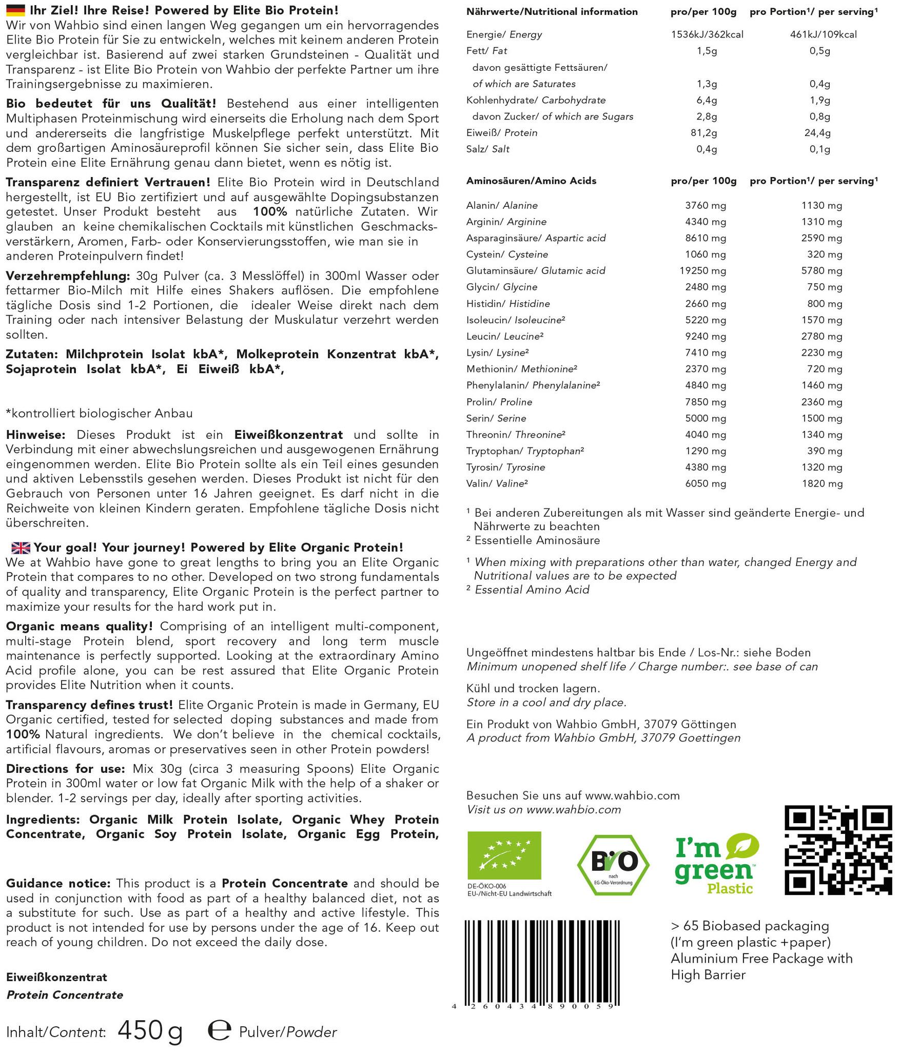 Elite bio Protein by wahbio | PUR Protein | 450 Gr.  mit Travel Shaker 300ml