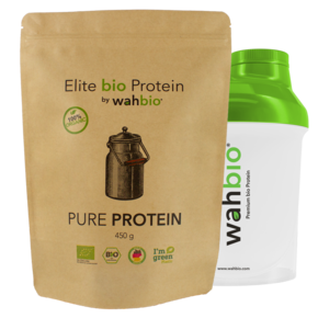 Elite bio Protein by wahbio | PUR Protein |  450 Gr.  mit Travel Shaker 300ml