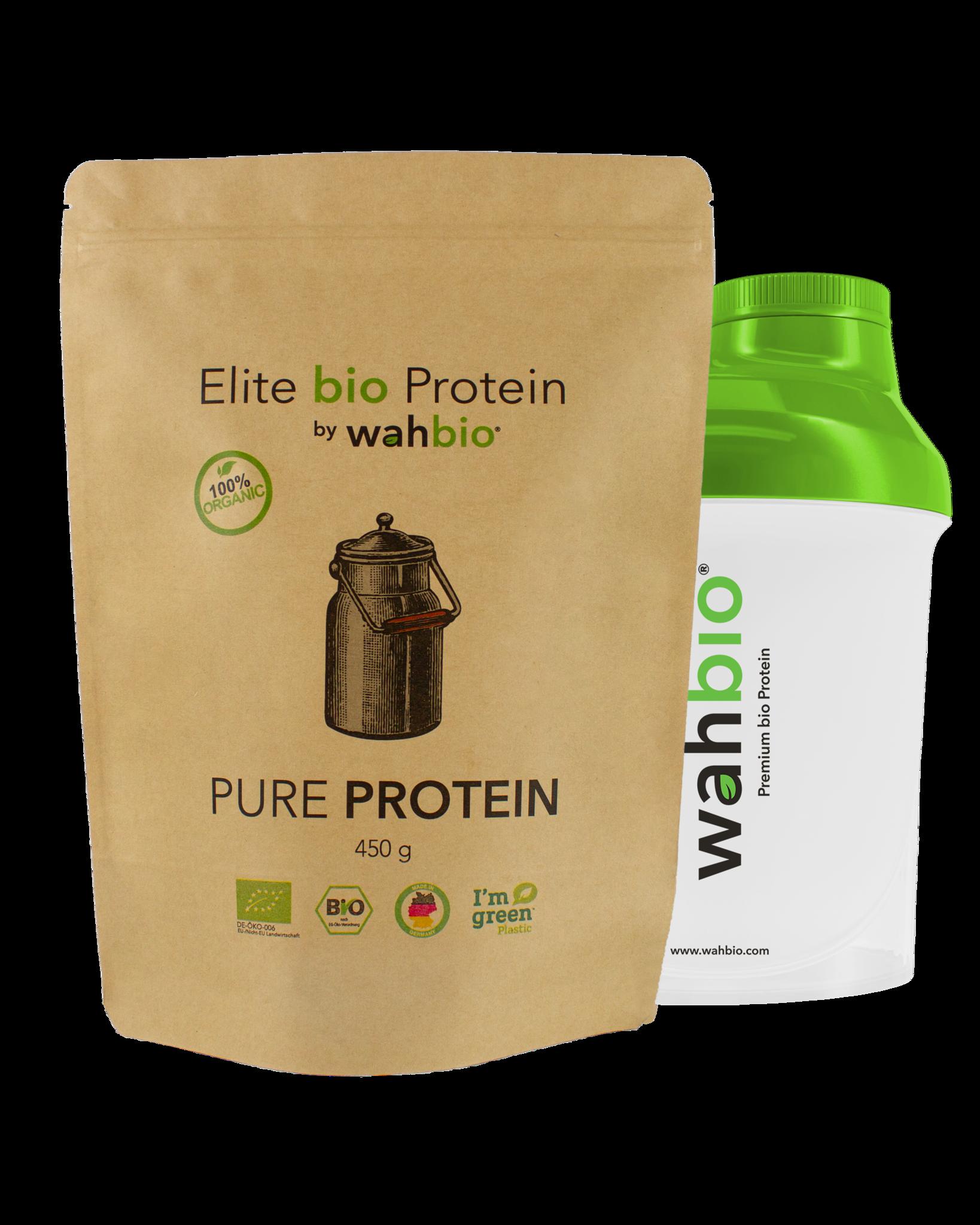 Elite bio Protein by wahbio | Pure Protein | 450 Gr.  mit Travel Shaker 300ml