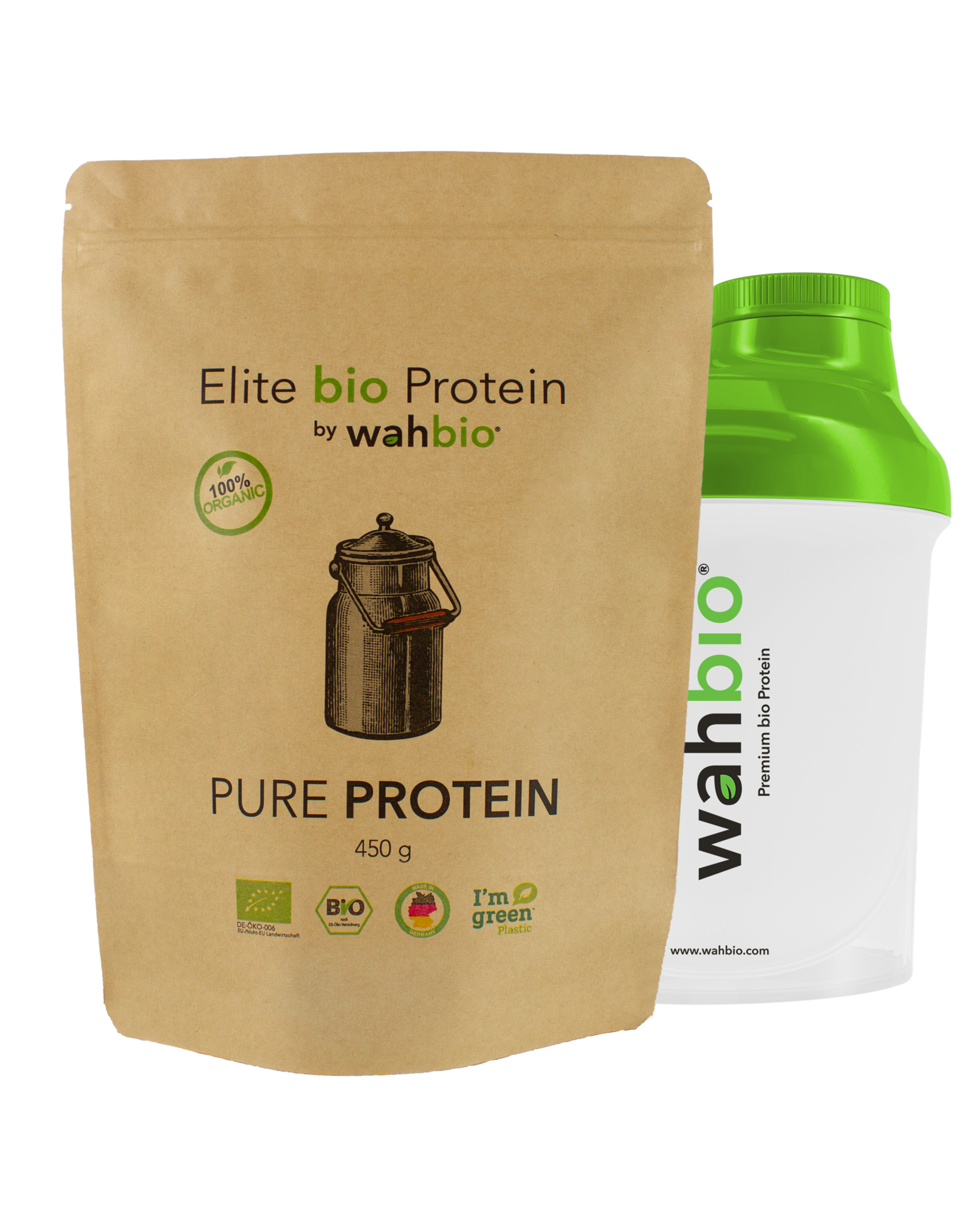 Elite Organic Protein by wahbio   Pure Protein    450 Gr.  with Travel Shaker 300ml