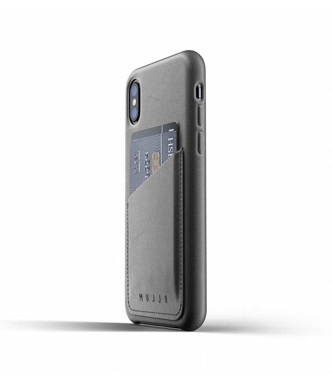 MUJJO Leder Wallet Case für iPhone Xs - Gray