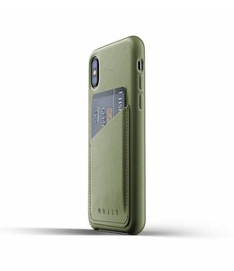 MUJJO Leather Wallet Case for iPhone Xs - Olive