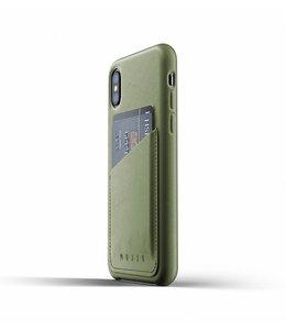 MUJJO Leder Wallet Case für iPhone Xs - Olive
