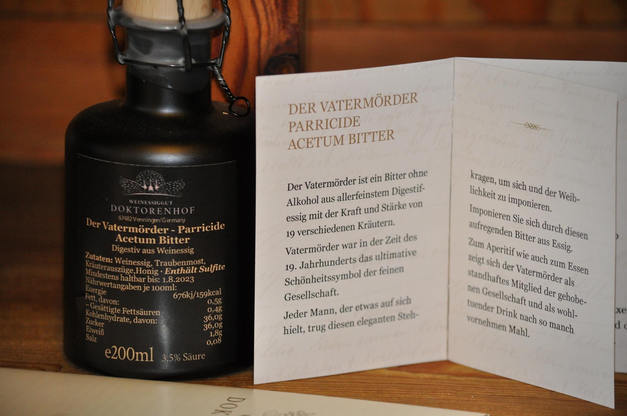 Doktorenhof Vatermörder Digestif aus Weinessig Acetum Bitter