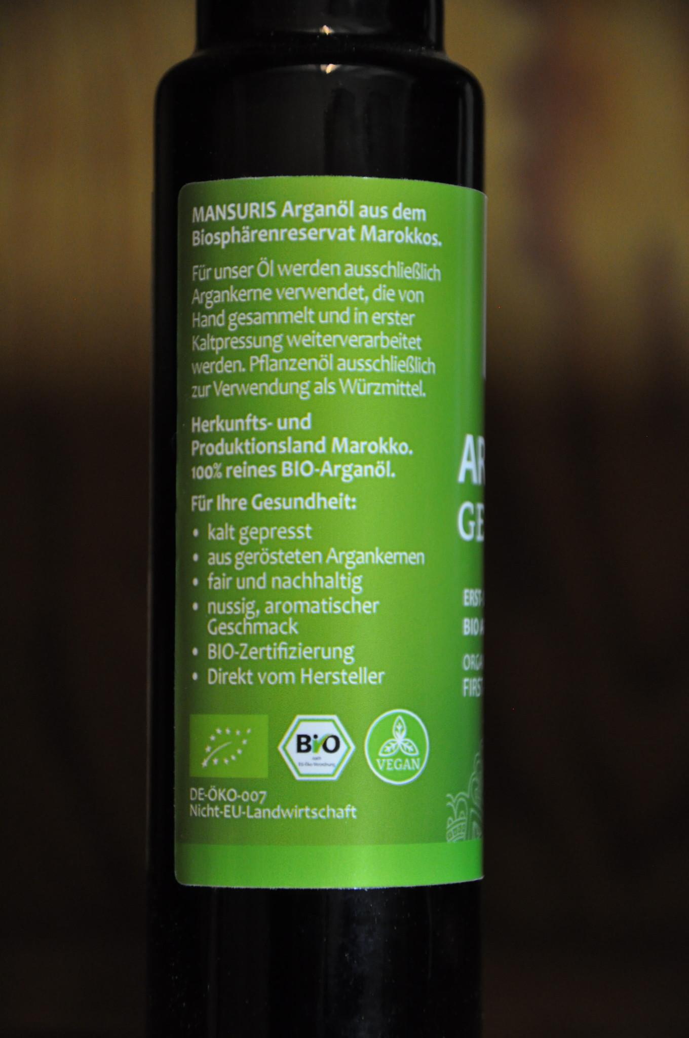 Mansuris Bio Arganöl 100 ml von Mansuris, kaltgepresst, geröstet