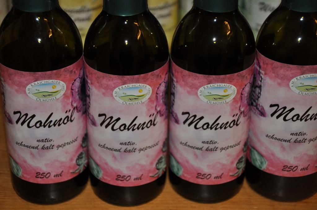 Kraichgauer Ölmühle Probier-Sparset mit 2 Fl. Leinöl und je 1 Fl. Walnussöl, Sonnenblumenkernöl und Mohnöl von der Kraichgauer Ölmühle
