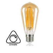 E27 5w Filament ST64 lamp, Dimbaar, 2 Jaar garantie