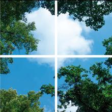 Fotodruckbild Wolken und Wälder 120x120cm für 4x 60x60cm Led-Platte
