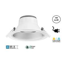 CCT Reflektor LED Downlighter 20w, 1700-2000 Lumen, Lochgröße Ø145mm, UGR19, Steckerfertig, 3 Jahre Garantie