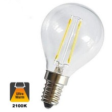 E14 Filament Bollamp 1,6w Helder, 150 Lumen, 2100K Flame, 2 Jaar Garantie