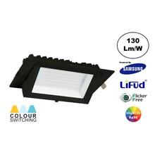 LED Schaufensterspot 20w, CCT (3000K/4000K/6000K), 2600 lm (130lm/w), Samsung LED, Lifud-Driver, Lochgröße 230x130mm, CRI90, Schwarz, 3 Jahre Garantie