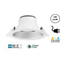 CCT Reflektor LED-Downlighter 15w, 1300-1500 Lumen, Lochgröße Ø195mm, UGR19, Steckerfertig, 3 Jahre Garantie