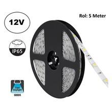 Led Strip ROL 5 Meter 5050SMD, 4,8w/m, 30 led/m, 400Lm/m, 6000K Daglicht wit, 12v, IP65, 10mm, 2 Jaar garantie
