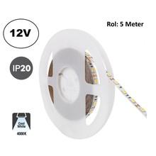 Led Strip ROL 5 Meter 5050SMD, 12,6w/m, 60 led/m, 1200Lm/m, 4000K Neutraal wit, 12v, IP20, 10mm, 2 Jaar garantie