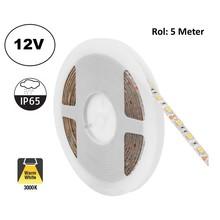 Led Strip ROL 5 Meter 5050SMD, 12,6w/m, 60 led/m, 1200Lm/m, 3000K Warm wit, 12v, IP65, 10mm, 2 Jaar garantie