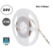 Led Strip ROL 5 Meter 2835SMD, 10,5w/m, 120 led/m, 1100Lm/m, 6000K Daglicht wit, 24v, IP20, 8mm, 2 Jaar garantie