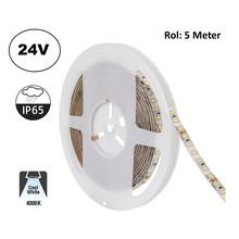 Led Strip ROL 5 Meter 2835SMD, 10,5w/m, 120 led/m, 1100Lm/m, 4000K Neutraal wit, 24v, IP65, 8mm, 2 Jaar garantie