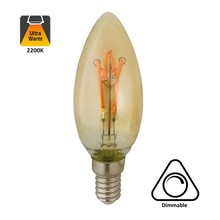 E14 Glühkerzenlampe 4w, H-Spirale, Bernstein, 160 Lumen, dimmbar, 2 Jahre Garantie
