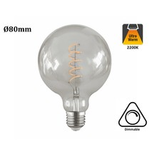 E27 Led-Lampe 4w Edison, Globe 80, 2200K Flamme, 180 Lumen, dimmbar, Klarglas, 2 Jahre Garantie