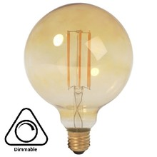E27 Led Lamp 4w Edison, Globe 80, 2200K Flame, 180 Lumen, Dimbaar, Amber Glas, 2 Jaar Garantie