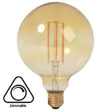 E27 Led Lampe 4w Edison, Globe 80, 2200K Flamme, 180 Lumen, dimmbar, Braunglas, 2 Jahre Garantie