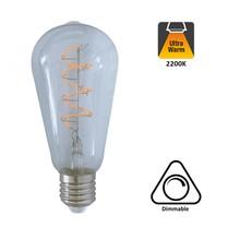 E27 Led Lamp 4w Edison, ST64, 2200K Flame, 180 Lumen, Dimbaar, Helder Glas, 2 Jaar Garantie