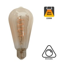 E27 Led Lamp 6,5w Edison, ST64, 2200K Flame, 325 Lumen, Dimbaar, Amber Glas, 2 Jaar Garantie