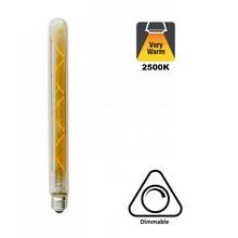 E27 Led Lamp 4w Edison, Tube, 2500K Extra Warm Wit, 180 Lumen, Dimbaar, Amber Glas, 2 Jaar Garantie
