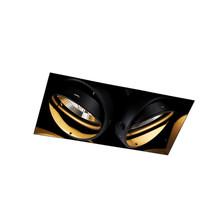 Trimless Einbaustrahler, Lochgröße 300x157mm, schwarz, inkl. Stuckrand (2x GU10 AR111 Spot)