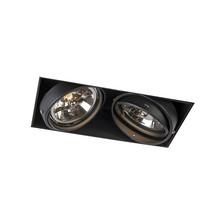 Trimless Inbouw Spot Armatuur, gatmaat 300x157mm, Zwart, incl. Stucrand (2x G53 AR111 spot)