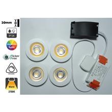 Inbouw LED Spot 4x3w CAB, 4x270 Lumen, 2700K, IP54, Dimbaar, CRI90, Wit Armatuur, Gatmaat 55mm, 2 Jaar Garantie
