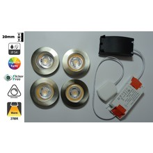 LED-Einbaustrahler 4x3w CAB, 4x270 Lumen, 2700K, IP54, dimmbar, CRI90, Stahlarmatur, Lochgröße 55mm, 2 Jahre Garantie