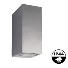 Wandleuchte Mis auf/ab, Silber, IP54, (2x GU10-Spot)