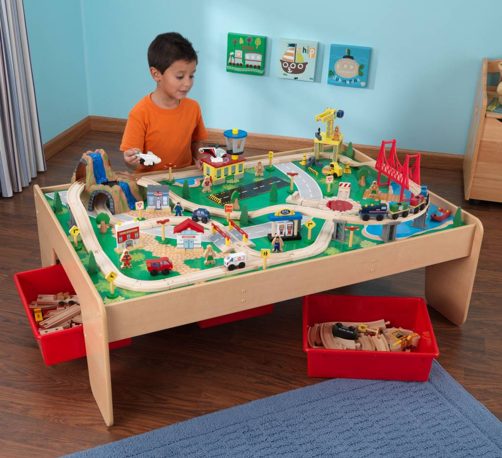 Table circuit train bois jeu d 39 enfant - Table circuit ...