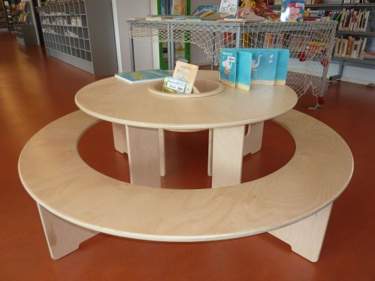kids table for a play corner in a library