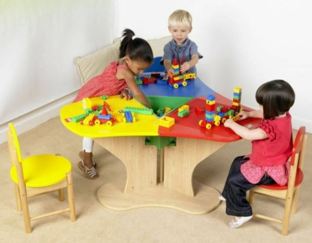 Lego Table 3 Chairs, Lego Table With Storage Triangle And 3 Chairs