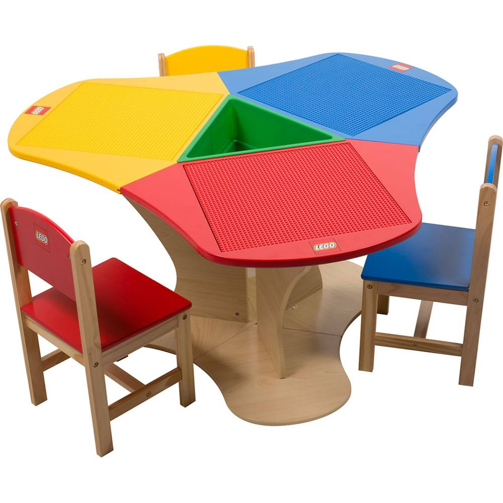 Lego Table Triangle With Storage And Three Chairs Kinderspell