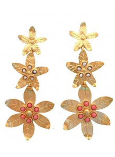 Adamarina Saffron Red Coral  Earrings