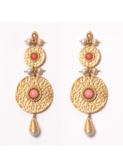 Adamarina Helena XL Pink Coral Earrings