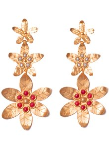 Adamarina Saffron Red Coral  Earrings