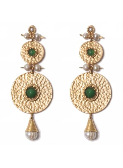 Adamarina Helena XL Earrings Green
