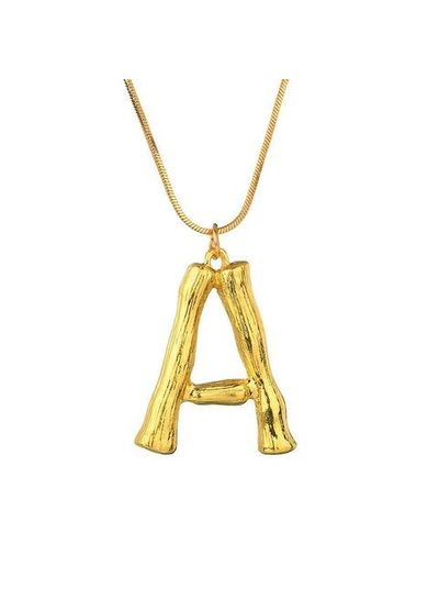 Adamarina Golden Letter A pendant with  chain