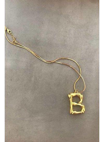 Adamarina B- Gold Buchstabe  Anhänger  mit Kette
