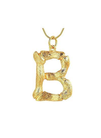 Adamarina B- Colgante letra  dorado con cadena
