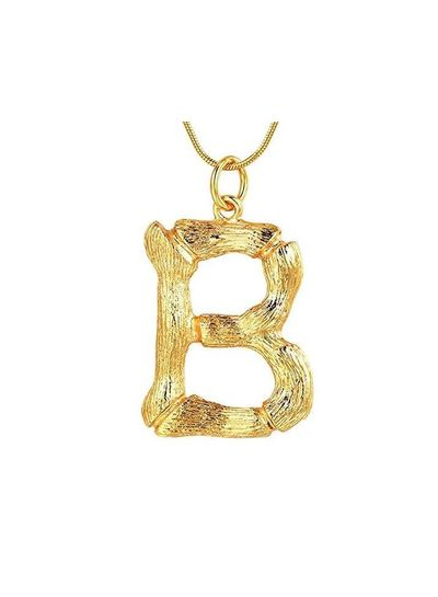 Adamarina B- Golden Letter  pendant with  chain