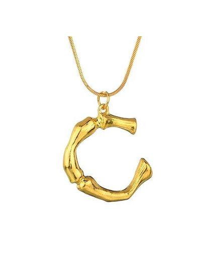 Adamarina C- Colgante letra dorado con cadena